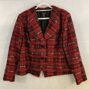 Cartise woman's red multi colored blazer size 14